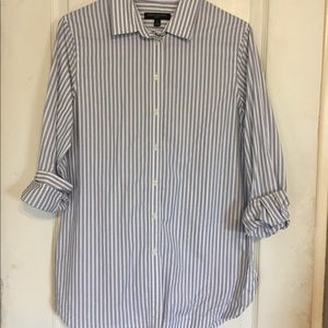Banana Republic blue striped button down tunic.